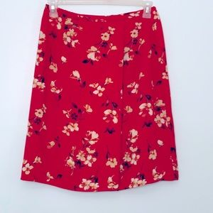 Lovely Red Floral Skirt with yellowish flowers